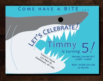 Custom Shark Birthday Party Invitation        •  Customized with your name,age,location  and you print! As many as you like!
