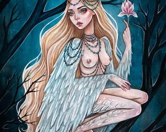 Mythical Slavic bird Alkonost. Fine Art Print.