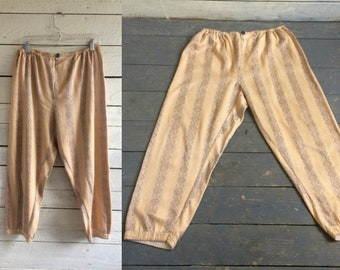 50s satin pajama pants - satin - lined with flannel - mustard yellow