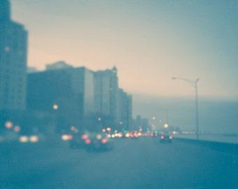 Chicago Photograph, Art for Walls, Urban Print, Lake Shore Drive, skyline decor, city photography, pink, teal blue, yellow, abstract bokeh