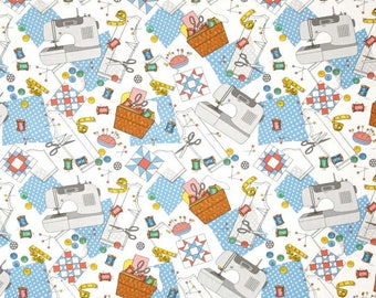 Fat Quarter Sew Special Sewing Multi For Windham Fabrics, Italian Kitchen, Sewing Theme