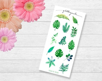 Exotic Tropical Leaves and Ferns Planner Stickers