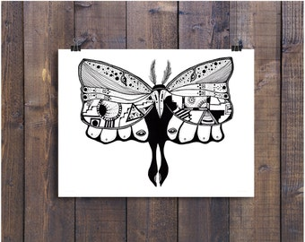 Moth Art, Moth Drawing, Butterfly Illustration, Pen and Ink Drawing, Black and White Art, Ink Drawing, Insect Art, Fun Art, Ink Art
