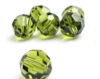 6 - Olivine Green Swarovski Crystal 10mm Round, Article 5000, Olive Sparkly Faceted Bead