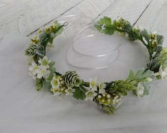 Flower crown White silk Floral crowns Bridal hairband headpiece Bridal hair wreath Wedding hair accessories Flower girl hair garland vine