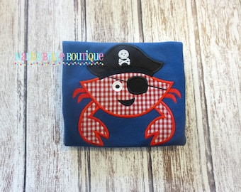 Fun Pirate Crab Appliqued Shirt - Embroidered, Personalized, Monogram, Crab, Pirate, Pirate Crab, Summer, Boys, Girls, Boys Crab Shirt
