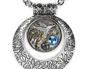 Steampunk Jewelry Necklace Vintage Watch Silver Etched ORB Bird, AQUA Crystal Steam Punk Wedding Anniversary - Jewelry by Steampunk Boutique