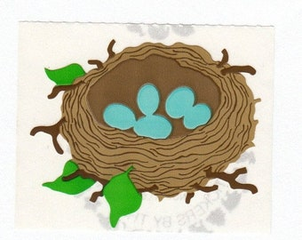 SALE Robin's Egg Nest Vintage Mrs Grossman Sticker - 80's Blue Bluebird Eggs Bird Scrapbook Collage