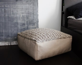 MADE TO ORDER wool footstool-home decor-knit ottoman-grey