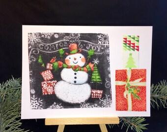 Christmas snowman card, handmade recycled fabric greeting cards, snowman card, Christmas card, blank card, OOAK greeting card