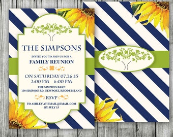 Family Reunion Invitation ~ Farm Backyard Party, Lake Invitations, Summer Theme I Do and a BBQ, End Of Summer Family Gathering Invite,