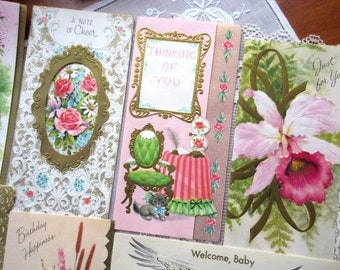 Vintage  Greeting Cards UNUSED with Envelopes  Birthday Wishes  Floral Birthday Cards - set of 7.
