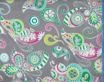 Paisley Butterflies Grey, Fabric Quilting Crafting Home Decor