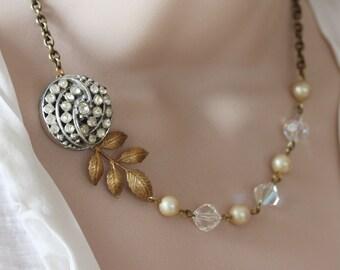 Bridal Necklace Vintage Wedding Necklace Vintage Wedding Jewelry  Pearl Bridal Necklace
