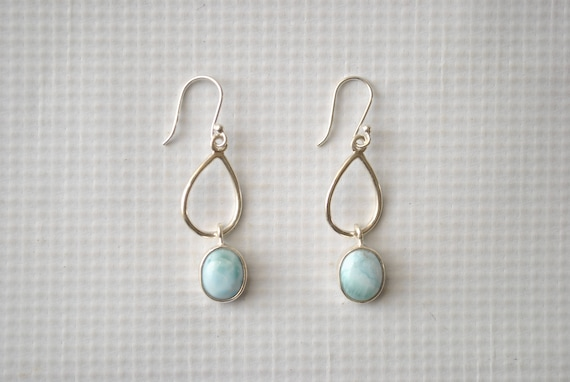 Sterling Silver Larimar Dangling Oval Earrings #9059