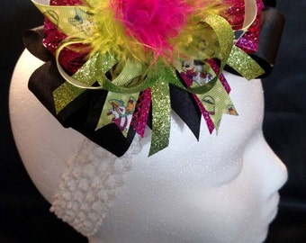 Pink and Green Disney Minnie Mouse and Daisy Duck Glitter Over-The-Top Hair Bow Hairbow