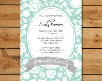 Family Reunion Invitations - Formal Floral Oval