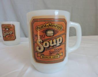Aunt Jenny's Mug O' Soup Milk Glass Mug ~ Anchor Hocking - Set of 6