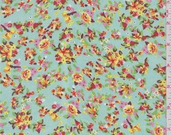 Seafoam Blue Floral Print Chiffon, Fabric By The Yard