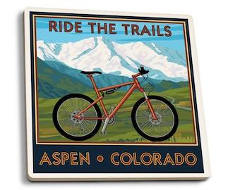 Aspen CO Ride the Trails, Mountain Bike LP Artwork (Set of 4 Ceramic Coasters)