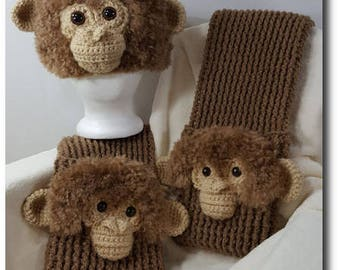 Monkey Hat and Scarf with Pockets Crochet Patterns