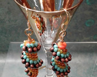 Cellini Spiral Earrings - Southwest Colors - Hand Crafted