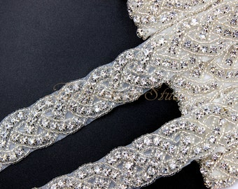 Crystal Clear Rhinestone Trim, Bridal Sash Trim, Wedding Belt Trim, Crystal Beaded Trim, 1 Yard / 36 inches, Bridal Accessories