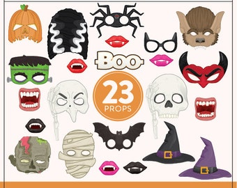 Printable Halloween Photo Booth Props   23 Printable Halloween Props   Instant Download