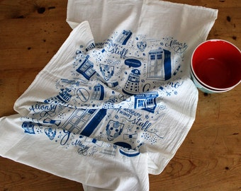 Doctor Who Screenprinted Oversized Flour Sack Tea Towel