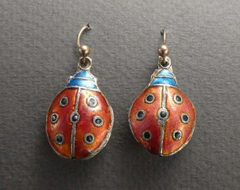 Vintage Lady Bug earrings silver body 10K wires