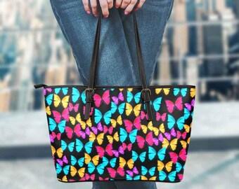 Butterflies on black - tote bag