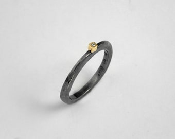 Minimal black ring with a small diamond and hammered band, Black rings for women, Patina ring, Oxidized silver ring, Gift for her.