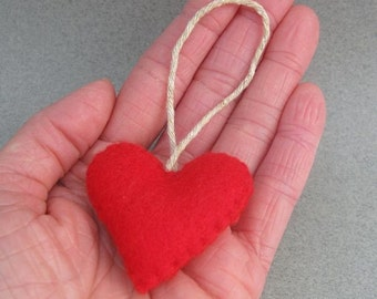 Red Felt Heart Small Recycled Christmas Ornament