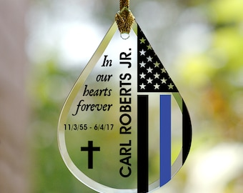 Police Flag Memorial Tear Drop Personalized Glass Ornament, memorial gift, memorial ornament, Christmas, blue line -gfyL11773111-police