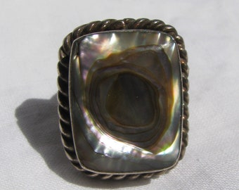 Vintage TAXCO Numbered Large Rectangular Slab Abalone Ring, Sterling Silver, Rope Border, Size 6, Mexico
