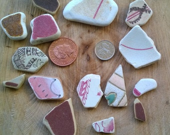 Irish Sea Pottery ~ bulk red pink brown pieces ~ jewellery making ceramic mosaic art, beach craft, charms pendants