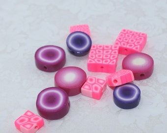 12 unique assorted handmade polymer clay jewelry making beads, in rich delicious colorful pink purple violet white, square & round beads