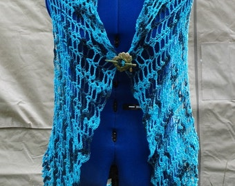 On SALE - DEEP SEA Hand Crocheted Cardigan Sweater Vest Shawl Wrap in Soft Bamboo Cotton
