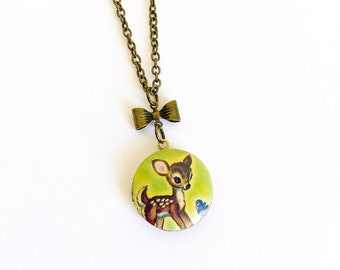 Vintage Style Deer, Fawn Cameo Locket Necklace