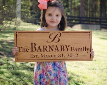 Personalized Last Name Wood Sign, Custom Wedding Sign, Custom Date Sign, Wood Established Sign, Benchmark Custom Signs, Cherry WWfs