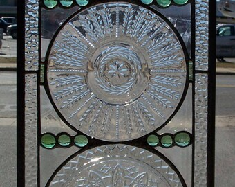 Trio of Glass Plates- window hanging
