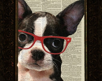Dog with Red Rimed Glasses on Antique Dictionary Page, Dictionary art print, Wall Decor, Wall Art Mixed Media Collage