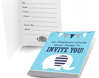 Blue Elephant - Fill In Invitations - Baby Shower Invitations - Birthday Party Invites - Little Peanut - Set of 8 Folding Cards w/Envelopes