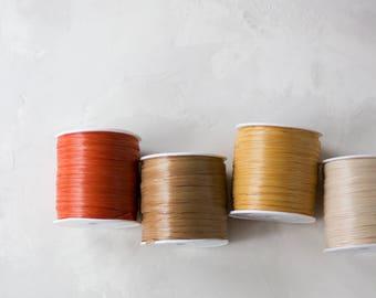 """Matte Paper Raffia - Terracotta / Kraft / Gold / Natural - 100 yards - 1/4"""" wide"""