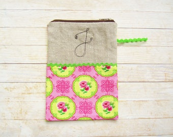 Cosmetic bag pencils case carry-all zipper pouch monogram J initial personalized wallet rose flower pink green lime cotton linen black gift