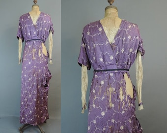 Totally Shredded Antique Silk Dress, 1900s, beyond repair, not wearable, falling apart Vintage As Is Purple Dress