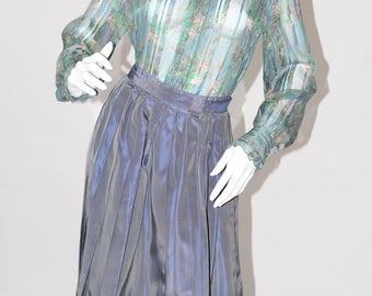 Vintage Estate Slate Blue 1950s Pleated Skirt