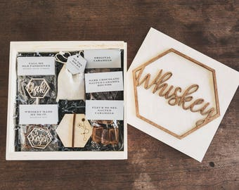 Whiskey Accessory Gift Box // Groomsmen Gift // Client Gift // Bar Accessories // Decanter Tags // Drink Stirrers // Whiskey Stones