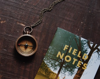 journey. a vintage brass working compass necklace for wanderers