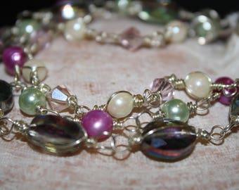 Triple-Strand Swarovski Crystal/Freshwater Pearl Bracelet
